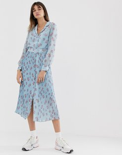 floral maxi dress with pleated skirt and button front-Blue