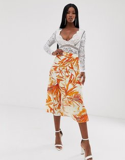 button down skirt in orange palm print-Multi