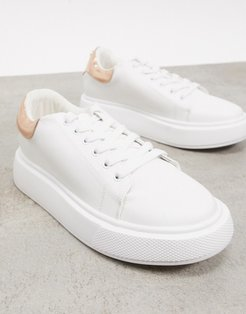 flatform sneakers with metallic back detail in white