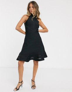 halter fit and flare bandage dress in black