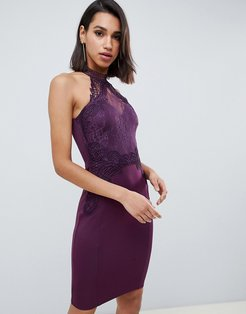 high neck lace bodycon dress in purple