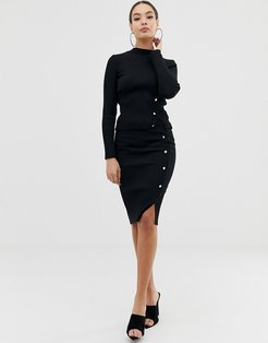 knitted rib skirt with button through in black two-piece
