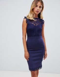 Lace Body-Conscious Dress-Navy