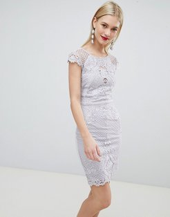 lace embroidered bodycon dress-Gray