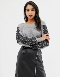 off shoulder sweater with lace sleeve detail in gray