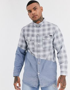 denim shirt with check splice in blue wash