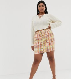 bright check denim skirt-Multi