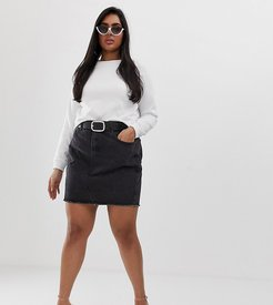 raw hem denim mini skirt-Black