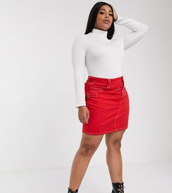 western denim skirt-Red
