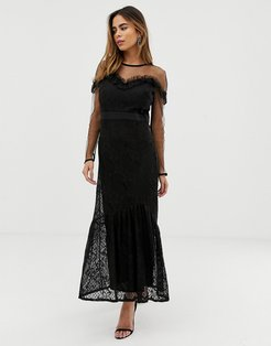 maxi dress with lace overlay and ruffle detail-Black