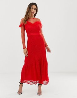 maxi dress with lace overlay and ruffle detail-Red