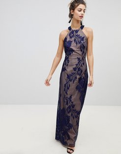 embellished high neck maxi dress-Navy