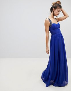 embellished strap maxi dress-Blue