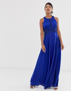 high neck sleeveless skater maxi dress-Blue