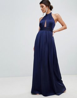 keyhole maxi dress-Navy