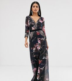 Little Mistress long sleeve v neck maxi dress-Multi