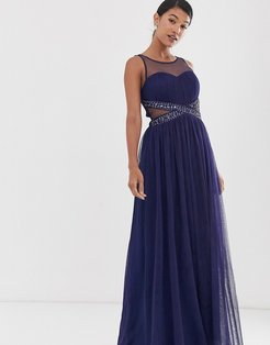 mesh upper embellished waist detail skater maxi dress-Navy
