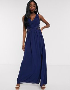 plunge pleat maxi dress with lace insert in navy