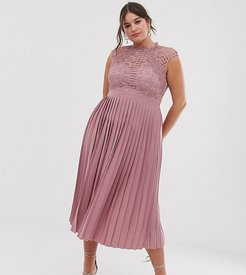 lace top midaxi dress with pleated skirt in blush-Pink