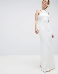 Racer Neck Maxi Dress With Embellished Detail And Open Back-White