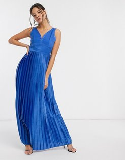 satin maxi dress in blue