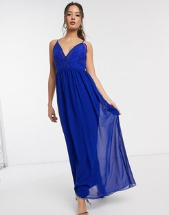 Sian maxi dress with lace bodice in cobalt-Blue