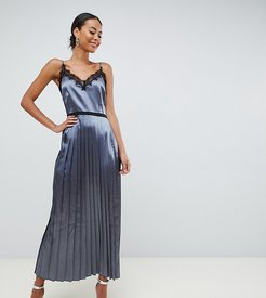 lace trim cami dress with pleated skirt in slate-Gray