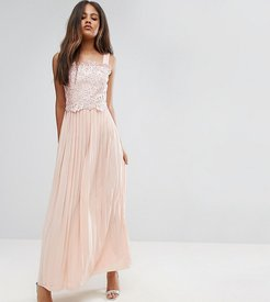 Premium Lace Top Maxi Dress With Pleated Skirt-Pink