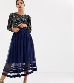tulle midi skirt-Navy