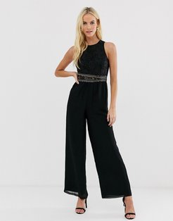 upper detail jumpsuit-Black
