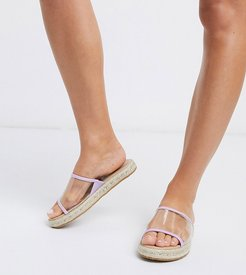 wide fit clear vamp espadrille mules in lilac-Purple