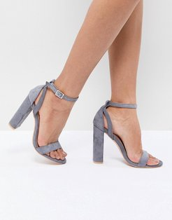 Blaise Gray Block Heel Sandals