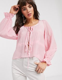 blouse with tie front-Pink