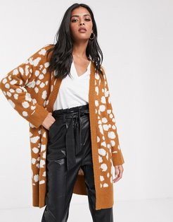 longline cardigan in animal print-Brown