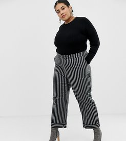 tailored pants in stripe-Black