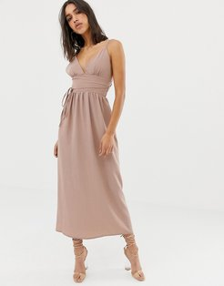 double strap chiffon maxi dress-Cream
