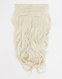 super thick 22 inch 5 piece blow dry wavy clip in hair extensions in bleach blonde-Beige