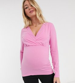 Mamalicious long sleeve wrap top-Pink
