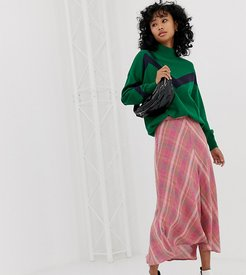 check midi skirt in Pink