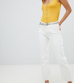 kick flare contrast stitch jeans in white