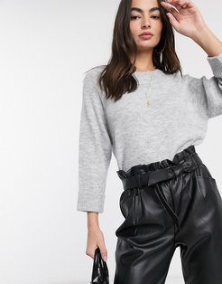 ribbed neck sweater in gray