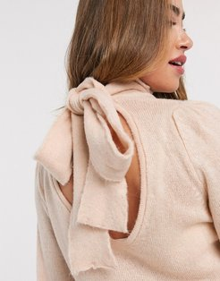 tie back sweater in pink