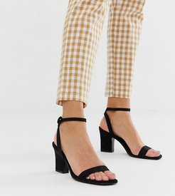 two part mid sandals in black
