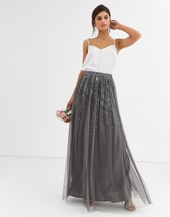 Bridesmaid delicate sequin tulle skirt in dark gray