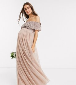 Bridesmaid bardot maxi tulle dress with tonal delicate sequins in taupe blush-Brown