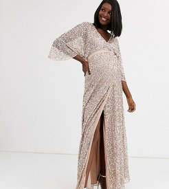 Bridesmaid delicate sequin wrap maxi dress in taupe blush-Brown