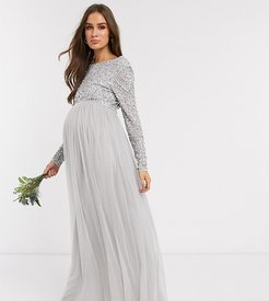 Bridesmaid long sleeve maxi tulle dress with tonal delicate sequin overlay in silver-Gray