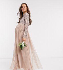 Bridesmaid long sleeve maxi tulle dress with tonal delicate sequin overlay in taupe blush-Brown