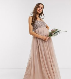 Bridesmaid sleeveless square neck maxi tulle dress with tonal delicate sequin overlay in taupe blush-Brown