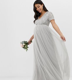 Bridesmaid v neck maxi tulle dress with tonal delicate sequins in silver-Gray